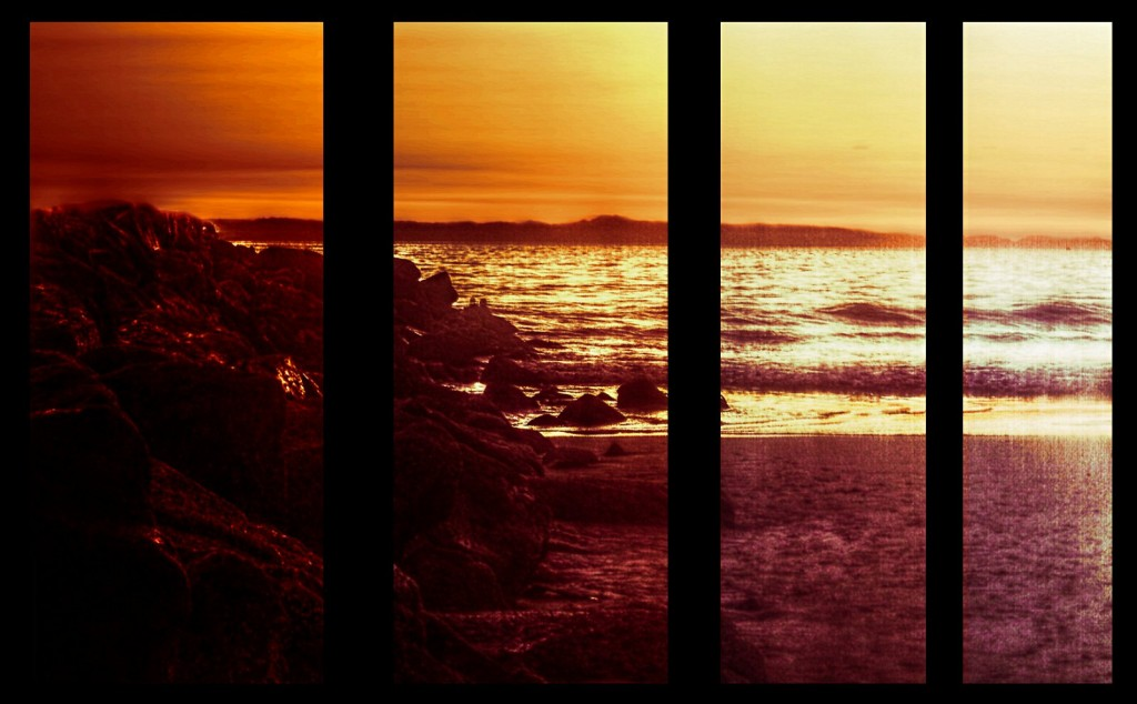 4 panels of a beach at sunset