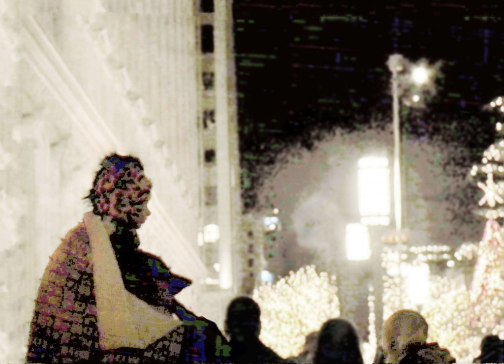 a lady all bundled up to see some Christmas lights